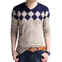 Мужской свитер без воротника BROWON, Осенний винтажный свитер с v образным вырезом, повседневный тонкий свитер для деловых мужчин