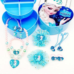 Elsa Princess Kids Girl Toy Children Bracelet Necklace Set Jewelry Gift Box Cute Hair Clip Frozen 2 Hair Christmas Holiday Gift