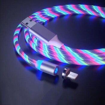 Câble magnétique lumière coloré pour iphone et samsung 1