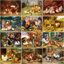 5D Diamond Painting Chicken Cock Baby Full Round Drill DIY Embroidery Cross Stitch Kits Mosaic Rhinestone Home Decor Gift