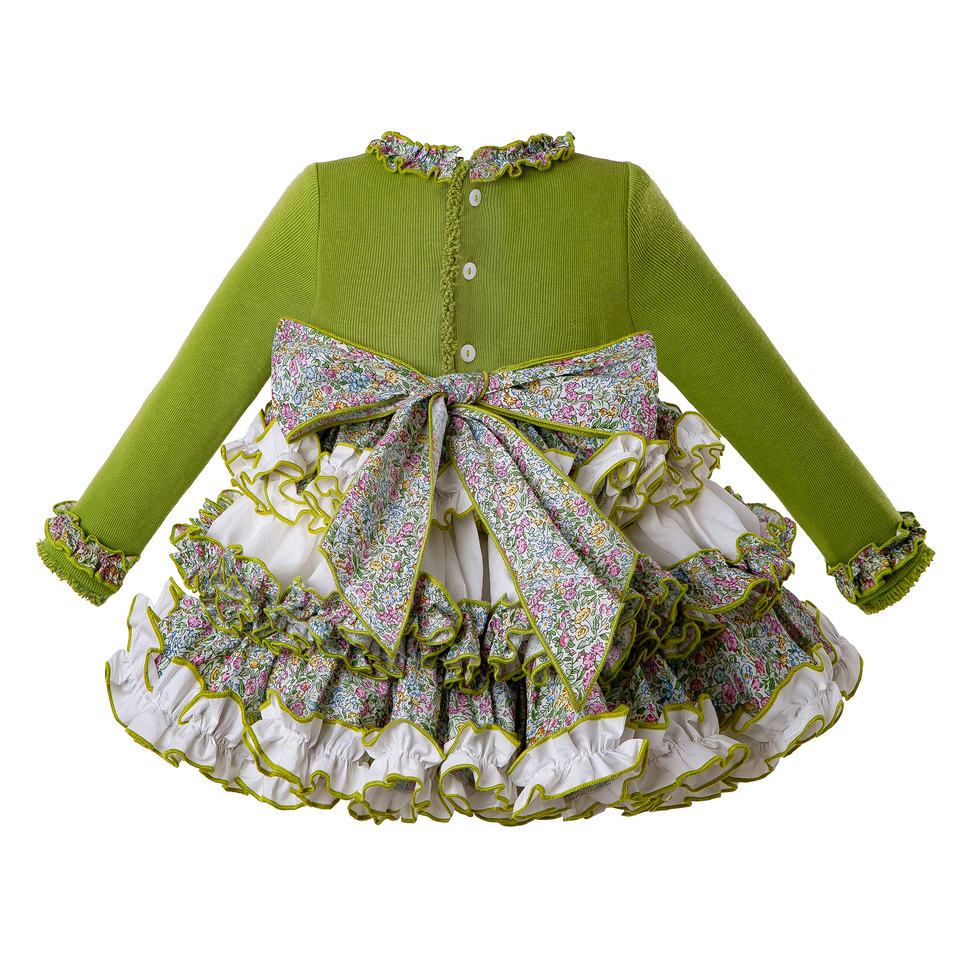Pettigirl Green Infant Clothing Baby Knit Fluffy Dress + PP Pants + Bonnet With Ruffle Collar Autumn Baby Girl Set G-DMCS206-151