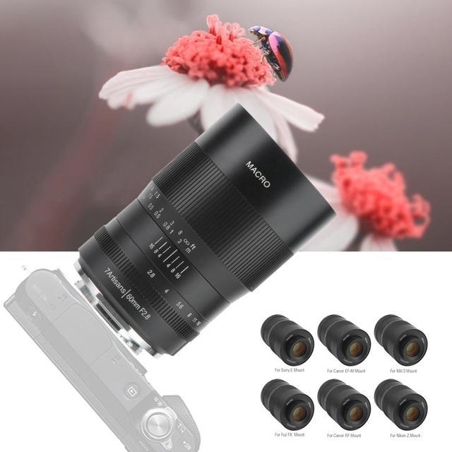 7 אומנים 60mm F2.8 עדשת APS C עדשות פוקוס ידני מאקרו עדשה עבור Sony עבור Canon עבור Fuji עבור ניקון מצלמות לן אביזרי חדש