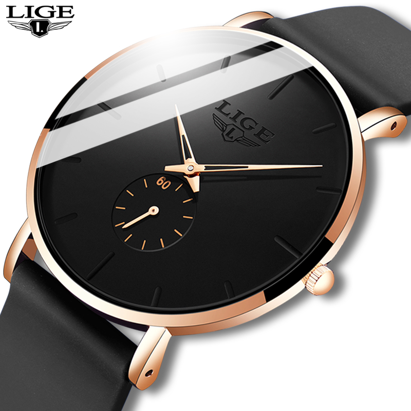 LIGE New Fashion Mens Watches Top Brand Luxury Sport Waterproof Simple Ultra-Thin Watches Men Quartz Clock Relogio Masculino+Box