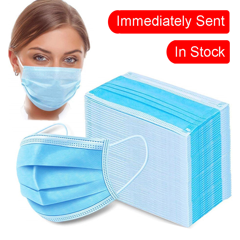 50 PCS Disposable Protective Masks 3 Layers Dustproof Facial Protective Cover Masks Maldehyde Prevent Bacteria Anti-virus Masks