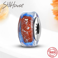 925 Sterling Silver Blue and Red Murano Glass Beads Fit Original Pandora Charm Bracelets Necklace Women Jewelry making(China)