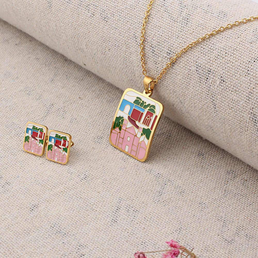 FINE4U N372 émail carré pendentif collier boucles d'oreilles ensembles de bijoux pour les femmes en acier inoxydable mariée mariage fête bijoux