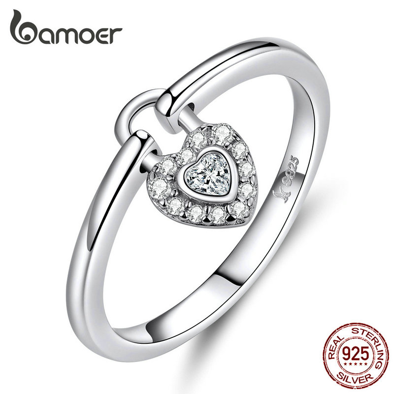 Bamoer Lock Of Heart Finger Rings For Women Wedding Statement Silver 925 Jewelry Promise Ring Gifts Accessories Female SCR589