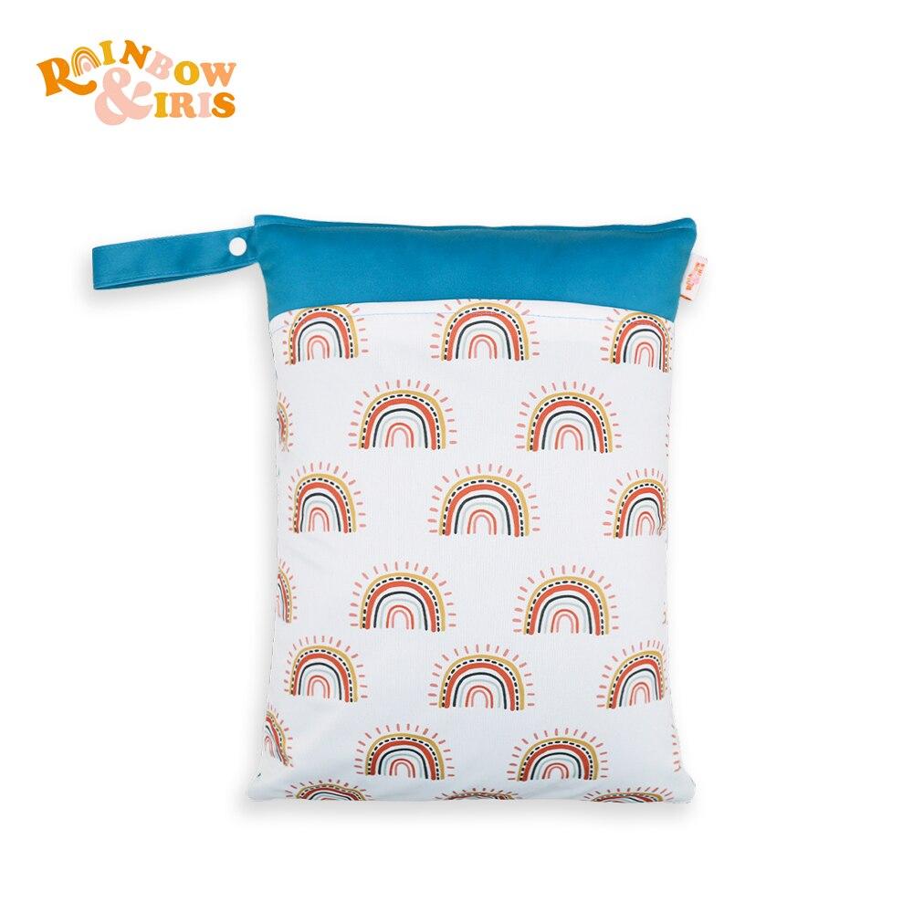 Rainbow&Iris Diaper Nappy Bag Wet Bag Washable and Reusable with Rainbow Print 30*40cm