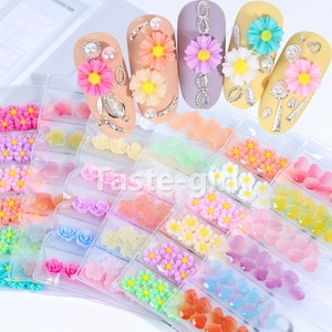 Новое поступление, милые 3D украшения для ногтей Стразы, цветок, звезда, сердце, полимерные принадлежности для маникюра, инструмент, накладные ногти, аксессуары