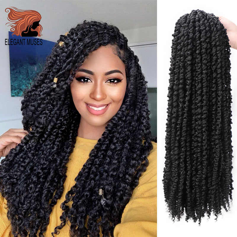 ELEGANT MUSES Pre Twisted Passion Twist Hair 18inches Long Ombre Crochet Hair Synthetic Pre looped Fluffy Twists Braiding Hair