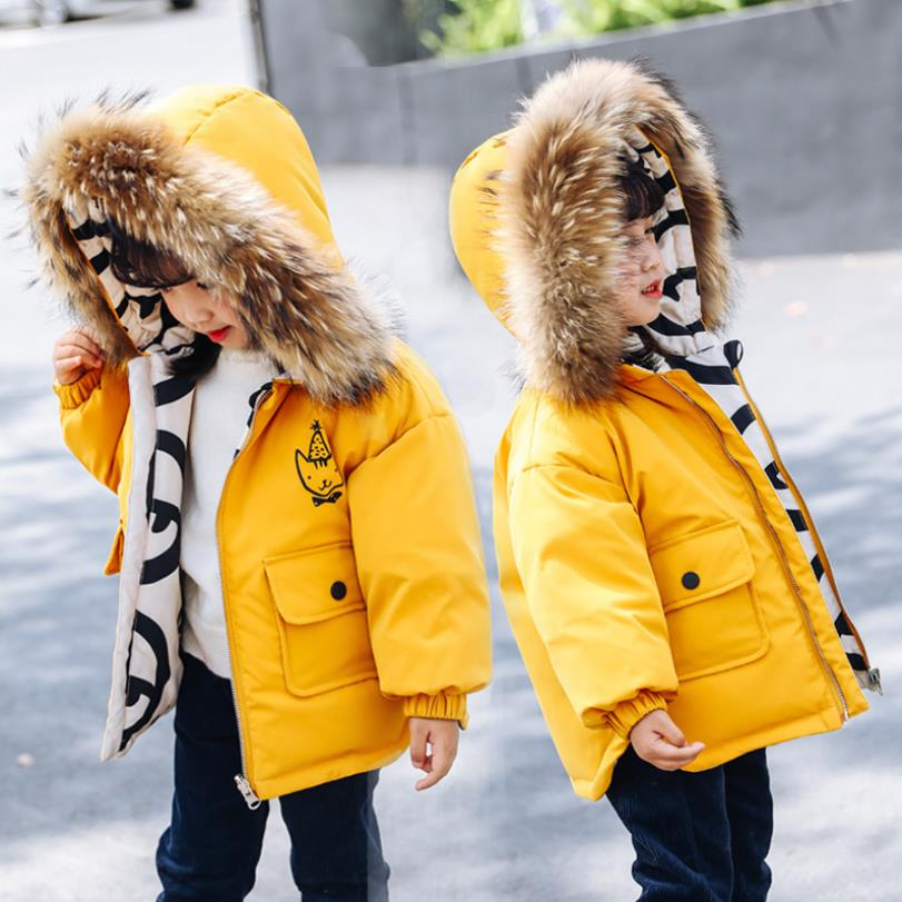 2019 winter new Big real fur collar Wear on both sides down jackets children warm thicken coats kids outerwear 2 6 Y WS1178