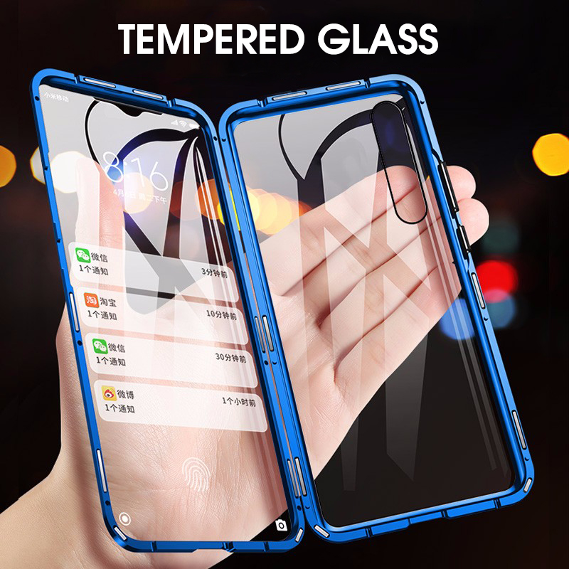 Double-sided Magnetic Full Cover Protector Case For Xiaomi Mi A3 Tempered Glass Back+Front For Xiaomi A3 Mi A3 Transparent Case