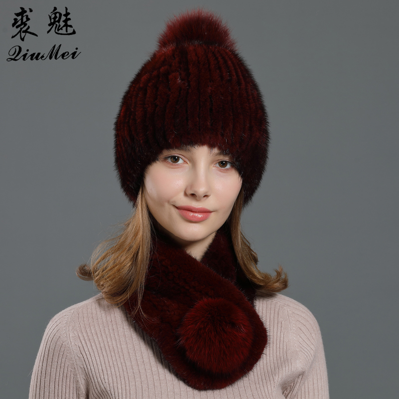 Knitting Genuine Fur Sets Women Hat And Ring Scarf Real Mink Fur Winter Fox Pompom 2020 New Fur Set Hat And Neckerchief 2pcs