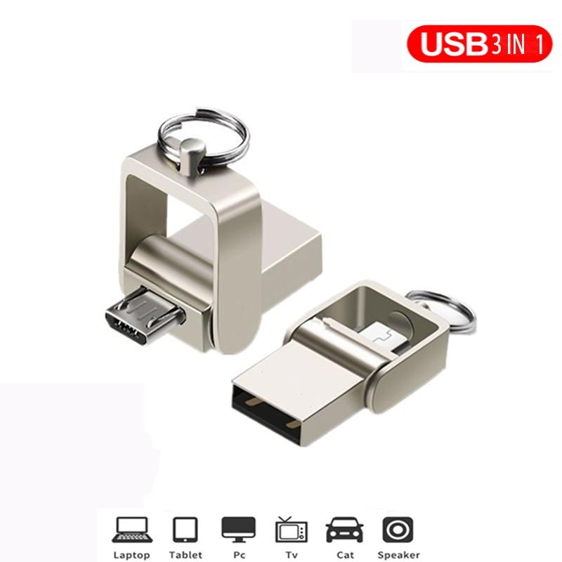 OTG 3 IN 1 Pen Drive 32GB Micro Usb 2.0 Memory Stick 64GB Pendrive 16GB Usb Flash Pen Metal For Type-C Usb Key Flash Drive