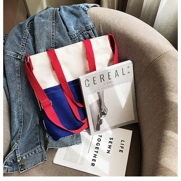 Panelled Canvas Shoulder Bag Weekend Casual Tote Bag School Book Bag for Girls Mochila in Shoulder Bags from Luggage Bags