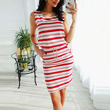 S-2019 New Women's Summer Dresses Ladies vestidos Sexy Sleeveless O Neck Striped Pocket Mini Dress feminine Casual robe femme#3(China)