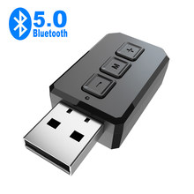 USB Bluetooth 5.0 adaptörü Dongle Mini Handsfree ses alıcısı kablosuz verici Mic AUX RCA 3.5MM Jack Stereo PC TV