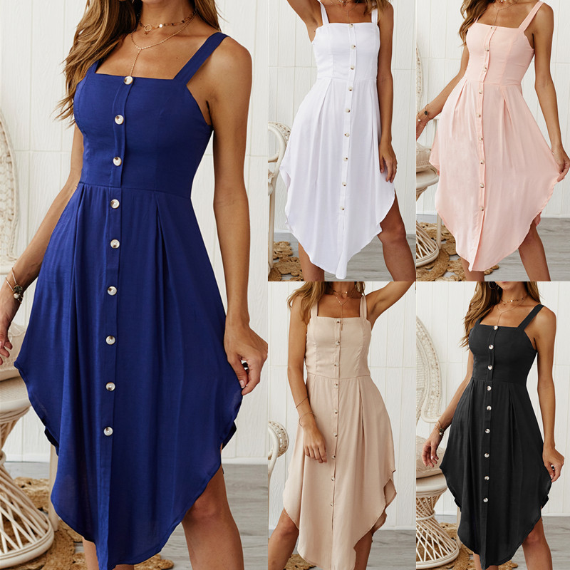 Woman Sleeveless Button Camisole Dress Sexy Bodycon Womens Spaghetti Straps Summer Ruffled Party