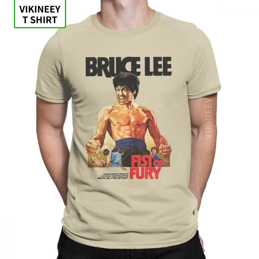 Men Fist Of Fury Bruce Lee T Shirt Dragon Movie Kung Fu Karate China Cotton Top Clothes Fun Tee Shirt New Arrival T-Shirts image