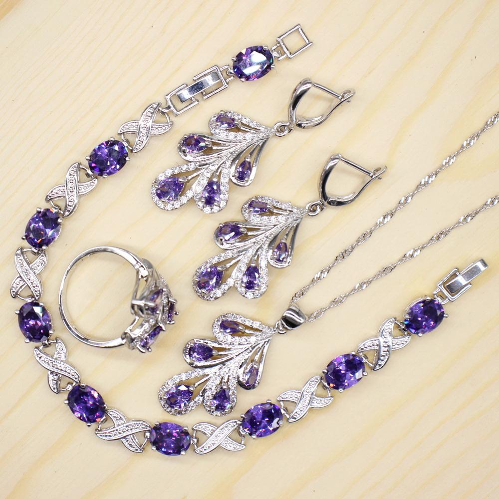 GZJY Purple Tree Shape Jewelry Sets for Women 925 Silver Earrings Necklace Pendant Wedding Ring X Shape Bracelet Jewelry(China)