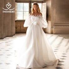 SWANSKIRT Vintage saten düğün elbisesi 2 In 1 straplez A Line İllüzyon prenses Vestido de novia I318 özelleştirilmiş gelin kıyafeti