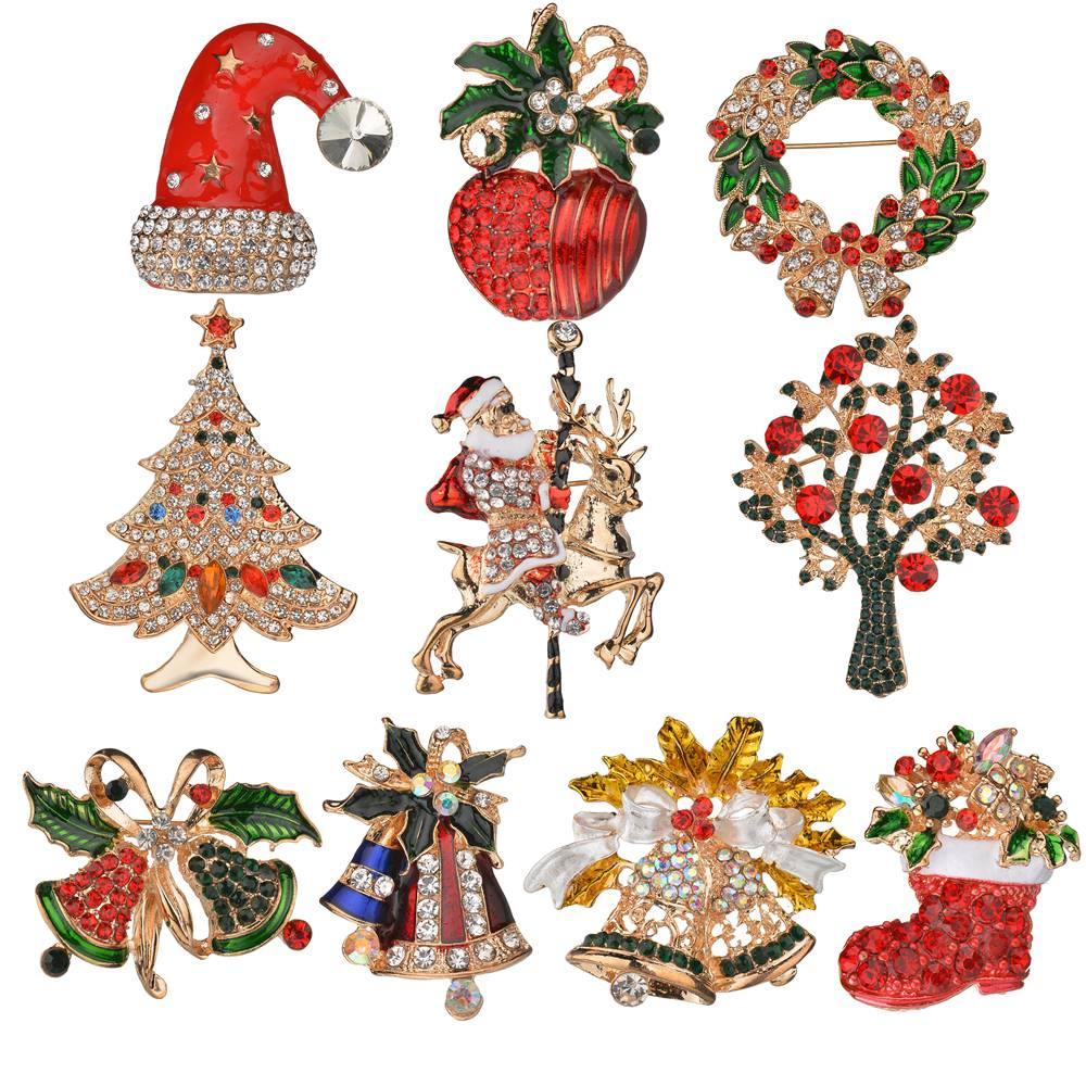 Gariton Hot Sale Creative Christmas Gifts Santa Claus Christmas Trees Socks Hat Sock Rhinestone Brooches For Women Gift in Brooches from Jewelry Accessories