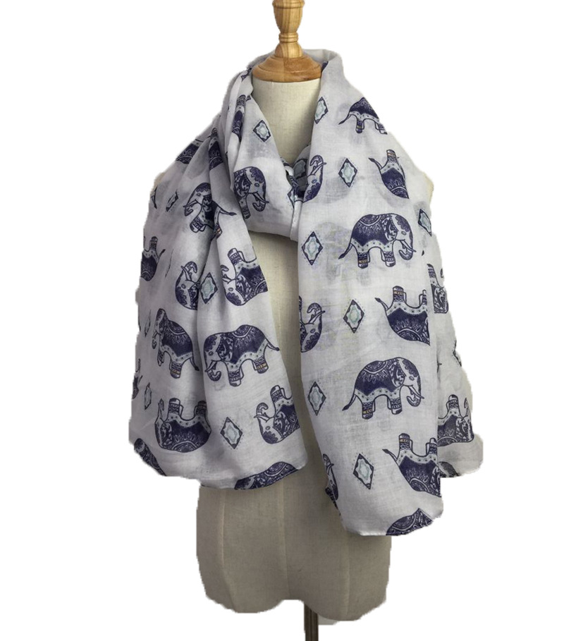 2019 Blast New Product-Versatile Men And Women-Encryption Voile Elephant Printed Scarf Shawl Manufacturers Direct Selling