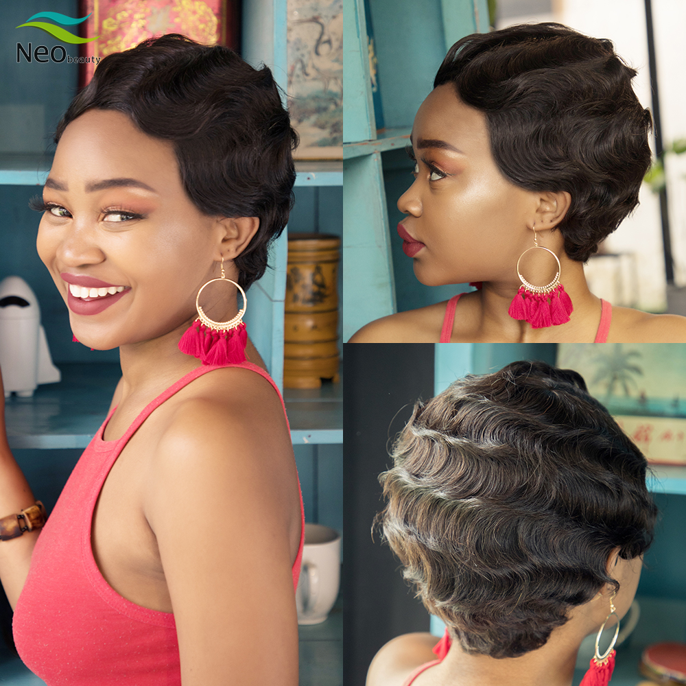 Pixie Cut Human Hair Wig Finger Wave Wig Full Machine Human Hair Wigs For Black Women Wig Human Hair Curly Wig Short Bob Wig