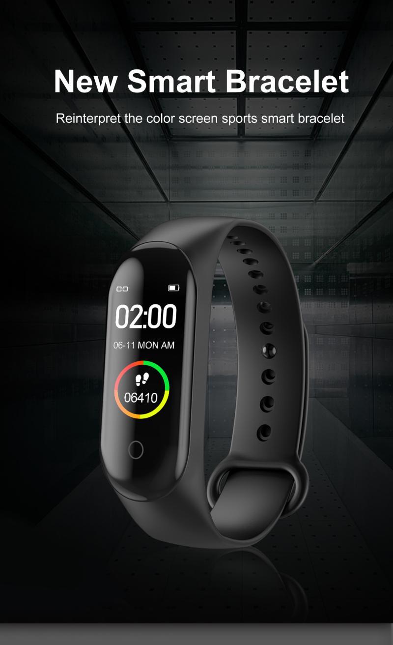M4 Women Men Smart Wrist Band Bluetooth Heart Rate Blood Pressure Pedometer Clock Sport Bracelet Watch For Android IOS Dropship