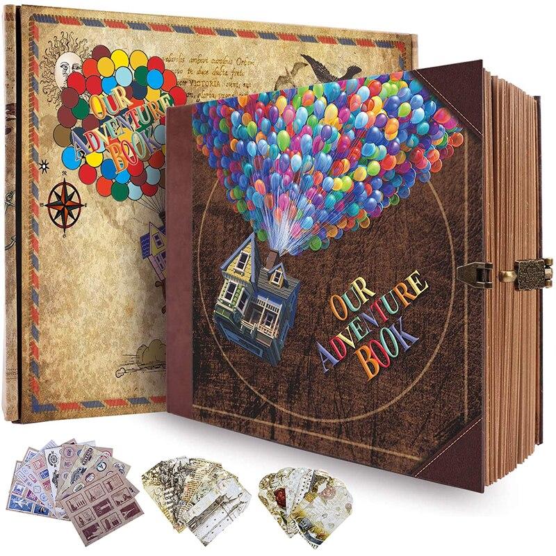 BRICOLAGE Voyage Photo Album Journal Livre Daventure Pour Bureau Mobile Décole à la Maison Daffaires Écriture Cadeau 146 page Mémoire Album