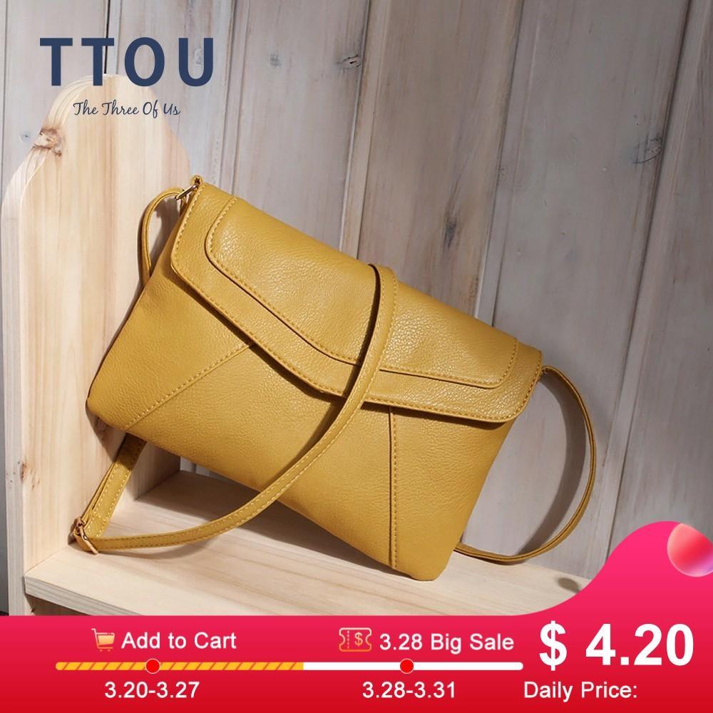 TTOU Women Pu Leather Messenger Bag Envelope Shoulder Bag Ladies Party Purse Famous Designer Crossbody Bag