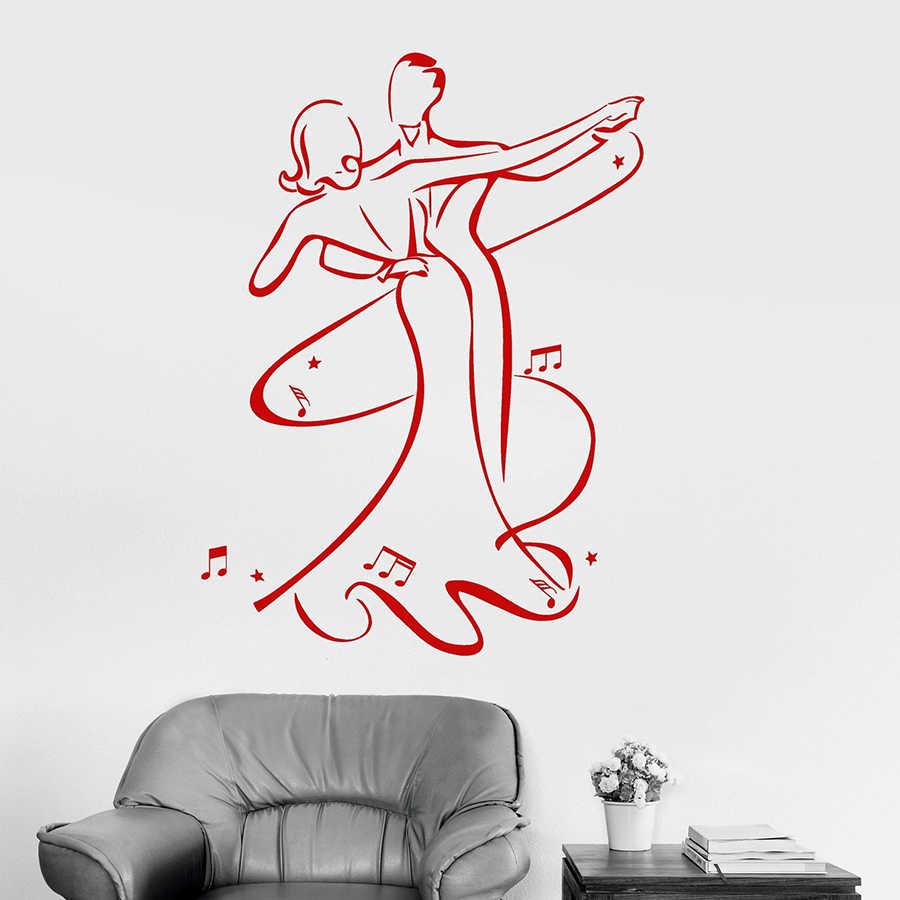 Waltz Dance รูปลอกผนังคู่โรแมนติก Ballroom ห้องนอนตกแต่งภายในไวนิลสติกเกอร์หน้าต่าง Dancer สตูดิโอ Elegant ภาพจิตรกรรมฝาผนัง M224