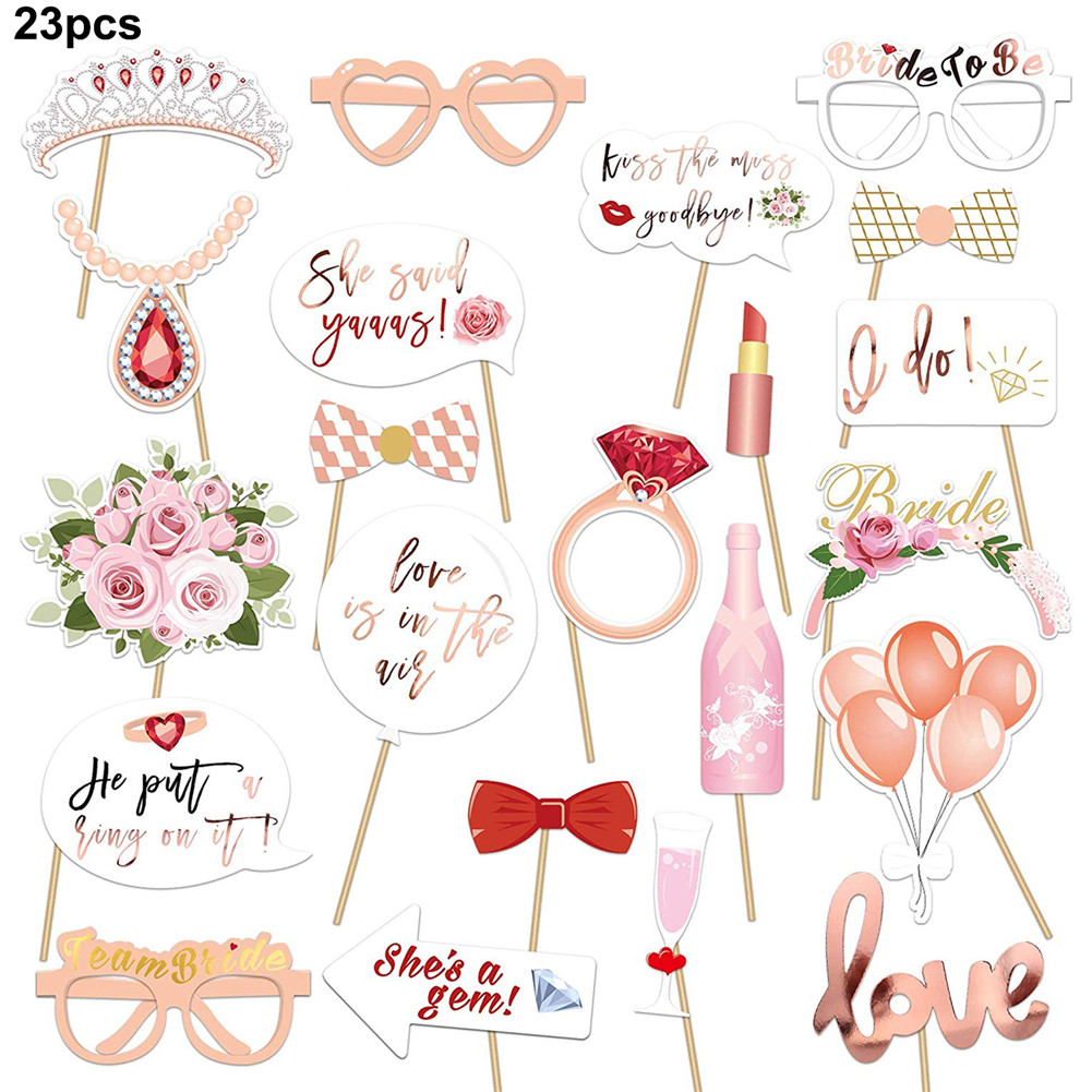10Pcs Team Bride To Be Glasses Hen Night Party Photo Props Accessories Rose Gold