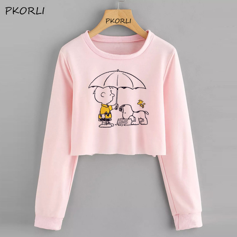 Snoopy Cropped Sweatshirt Women Printed Long-Sleeved Hoodie Casual Pullovers Cartoon Graphic Tops Hoodies 2019 Ladies Giirl Crop