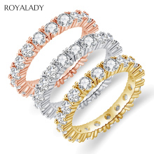 Fashion Cubic Zircon Pave Band Eternity Stacking Rings For Women White Rose Gold Round Crystal Party Wedding Rings Wholesale