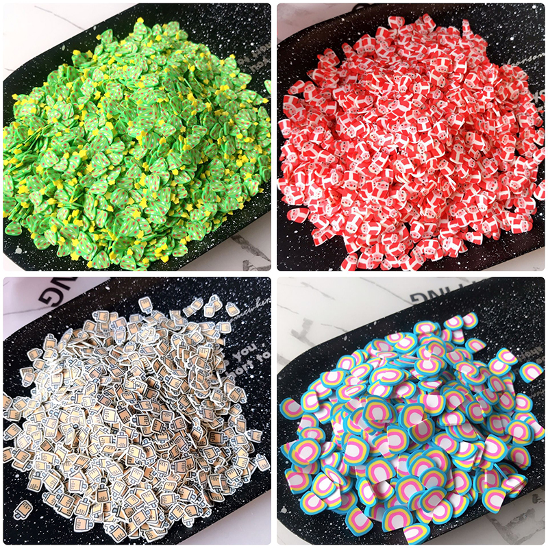 Happy Monkey 10g Slime Additives Supplies Polymer Clay Tree Boba Rainbow Slice Topping DIY Sprinkles For Clear Slime Clay