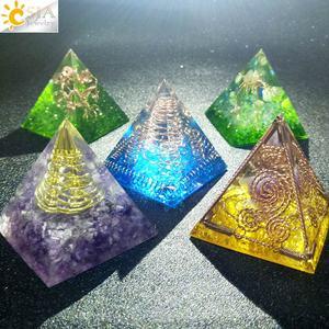 Image 4 - CSJA orgon enerji dönüştürücü orgonit piramidi Metal tel doğal çakıl reçine Reiki şifa manevi zanaat dekorasyon hediye G250