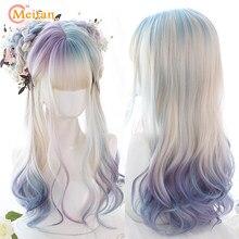 MEIFAN – perruque synthétique longue ondulée pour filles, cheveux naturels, Lolita, Cosplay, Harajuku, coloré, ombré, avec frange