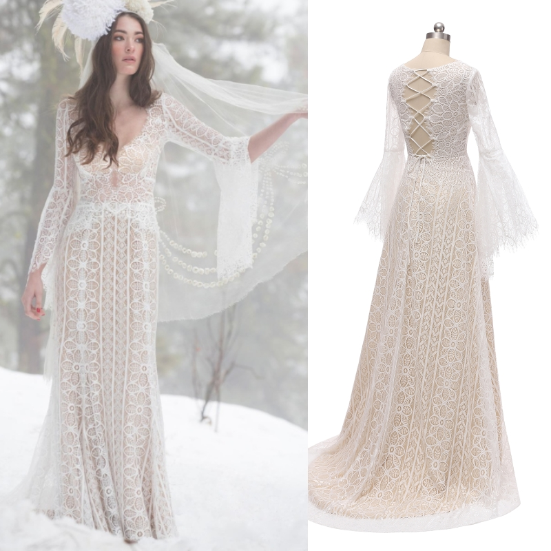 Bohemian Cross Back Illusion Floral Lace Flare Sleeve Bridal Dress Wedding Gown