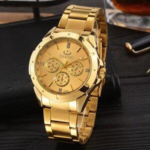 Image 4 - Chenxi lujo oro Relojes de hombre único negocio vestido reloj para hombre mujer amante reloj de oro impermeable mujer hombre 019a