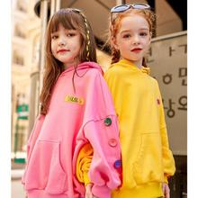 Girls Sports Hoodies With Pockets Candy Color Casual Hooded Pullovers Kids Daily Long Sleeve Tops Sweatshirt Children Clothes