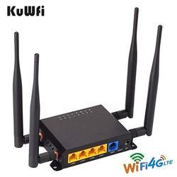 KuWfi 4G Openwrt راوتر 300Mbps CAT4 LTE CPE سيارة لاسلكية موزع إنترنت واي فاي مكرر إشارة واي فاي قوية مع APN & 4 * 5dbi هوائي