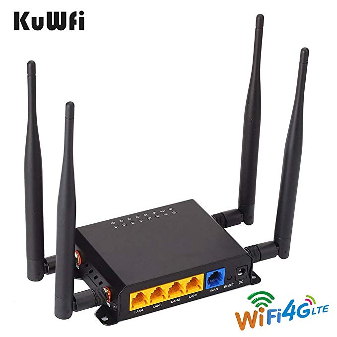 KuWfi 4G Openwrt Router  300Mbps CAT4 LTE CPE Wireless Car Wifi Router Repeater Strong Wifi Signal With APN &4*5dbi Antenna