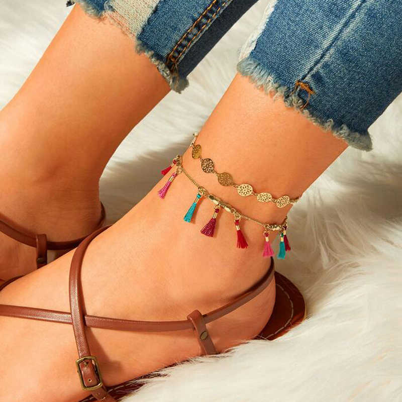 docona  Bohemian Gold Sequin Colorful Tassel Pendant Anklets for Women Adjustable Ankle Bracelet Set Jewelry Tobillera 3941