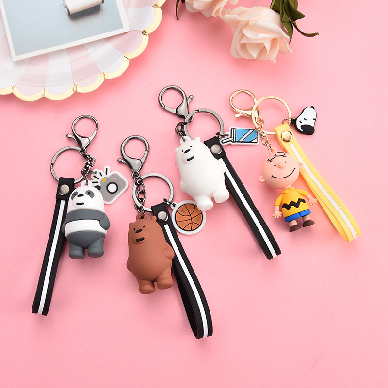 Cartoon Three Bear Girls And Boys Design Fashion Animal Young People Color Keyring High Quality Girl Student Multicolor Keychain