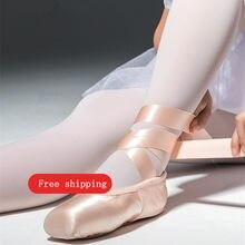 Meninas senhoras ballet pointe sapatos adultos mulher profissional cetim ballet sapatos de dança com fita mulher zapatillas de ballet