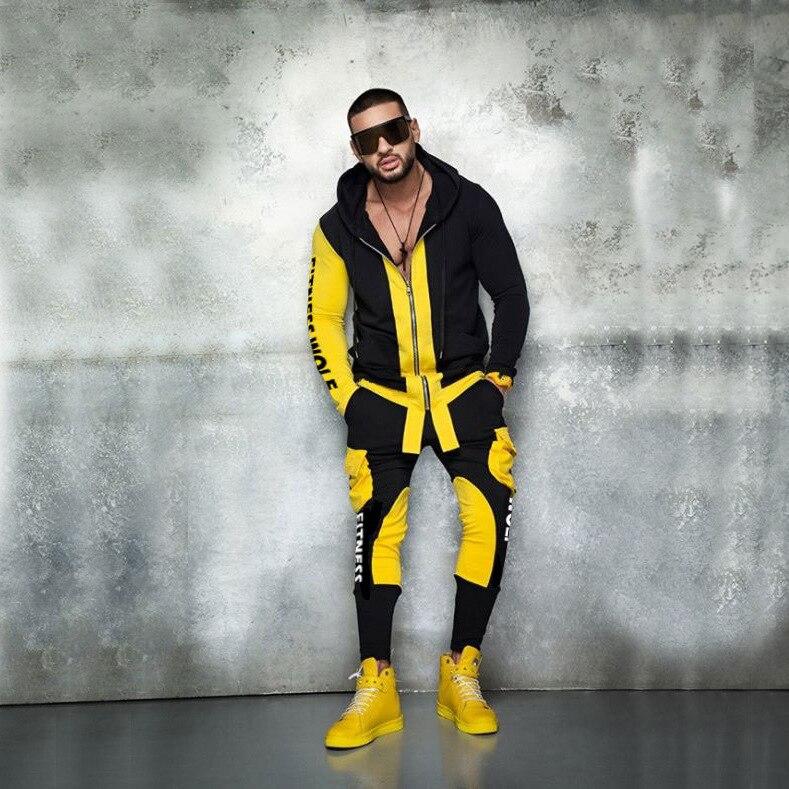 New Men's Fashion Suit Euro-American Fashion Sports Leisure Men's Wear Colour Fitness Clothing Pure Cotton Hoodies 2019