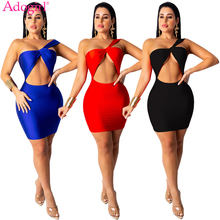 Adogirl 2019 New Women Sexy Bodycon Club Dress Strapless One Shoulder Hollow Out Backless Mini Party Dresses Bandage Vestidos