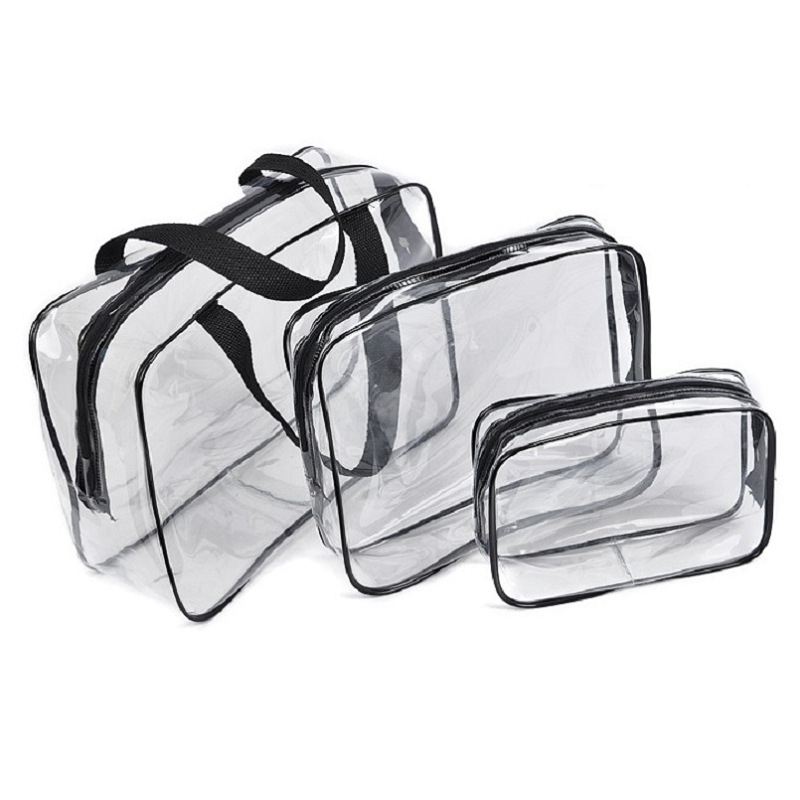 Transparent Waterproof Swimming Bags Sports Travel Bathing Storage Bag Zipper Clear PVC Organizer Phone Pocket