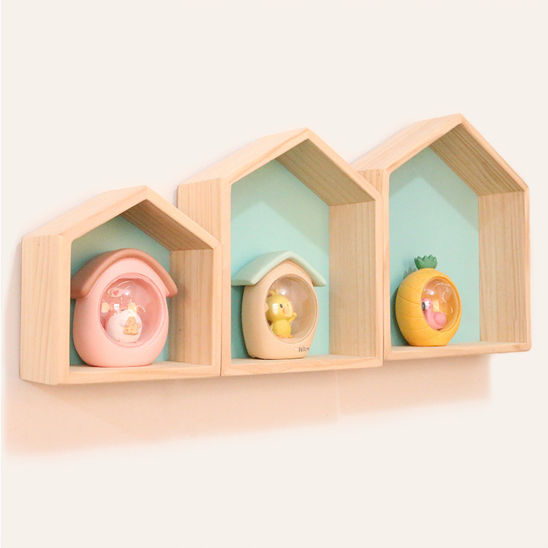 High Quality Natural WoodShelf For Kids Room Decor Wood Wall Shelves For Children Boy Girl Bedroom Decor Wooden Shelf Kids Room